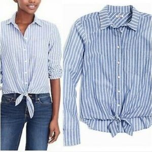 J Crew Women's Striped Tie Front Blouse Top NWT